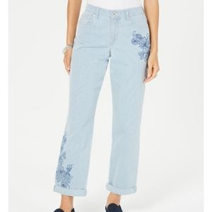 Style & co striped Embroidered curvy fit boyfriend